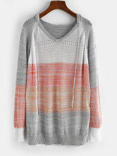Raglan Sleeve Colorblock Pointelle Knit Sweater - Gray L