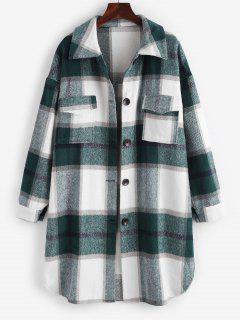 Plaid Front Pocket Wool Blend Coat - White L