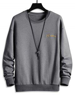 Letter Embroidered Drop Shoulder Sweatshirt - Gray 3xl