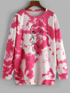 Halloween Skeleton Graphic Tie Dye Sweatshirt - Rose Red M