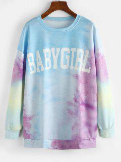 Tie Dye Baby Girl Drop Shoulder Oversized Sweatshirt - Light Sky Blue Xl