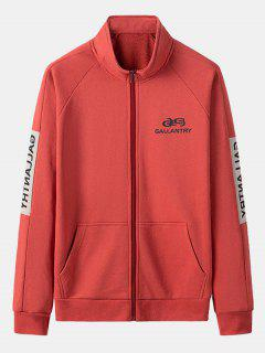 Gallantry Letter Print Colorblock Jacket - Red L