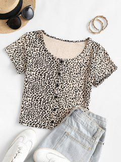 Leopard Animal Print Slim Crop Baby Tee - Light Coffee S