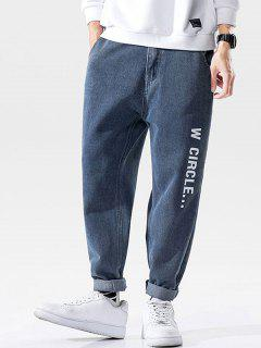 Letters Print Zipper Fly Tapered Jeans - Silk Blue 2xl