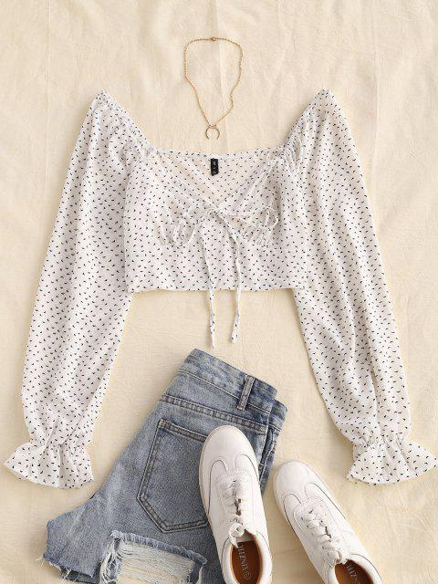 ladies ZAFUL Ditsy Print Poet Sleeve Cropped Blouse - WHITE S Mobile