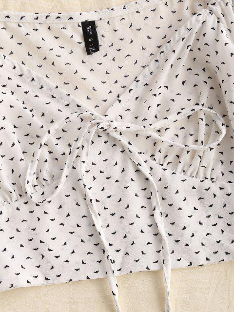 womens ZAFUL Ditsy Print Poet Sleeve Cropped Blouse - WHITE XL Mobile