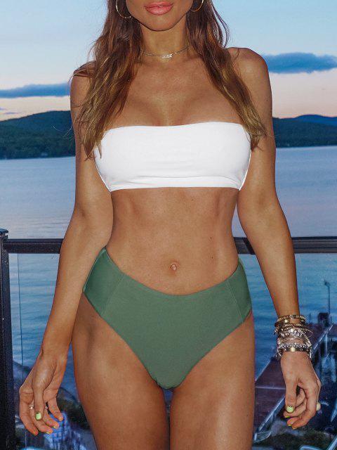 Hochgeschnittenes Zweifarbiges Bandeau -Bikini- Set - Armeegrün L Mobile