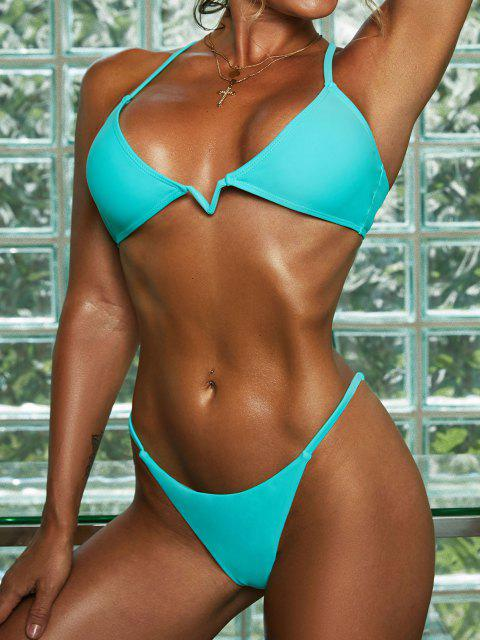 lady ZAFUL V Wired Crisscross Tanga Bikini Swimwear - LIGHT BLUE L Mobile