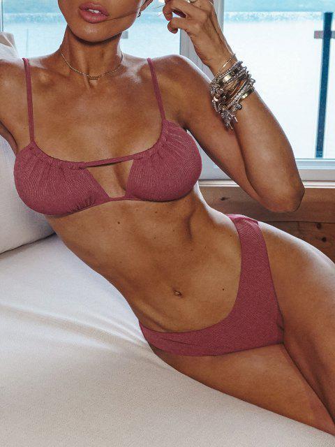 sale ZAFUL Ribbed High Cut Ruched Tie Bikini Swimwear - LIGHT PINK S Mobile
