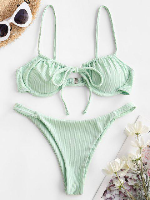 chic ZAFUL Ribbed Tie Underwire Bikini Swimwear - LIGHT GREEN S Mobile