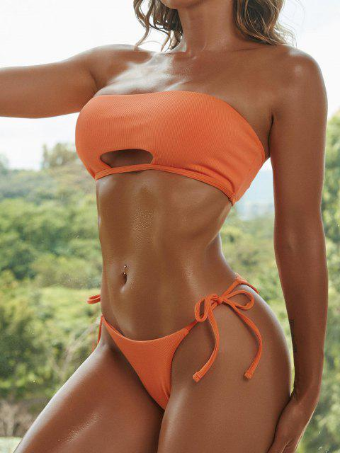 buy ZAFUL Ribbed Cutout Tie Side Bandeau Bikini Swimwear - ORANGE L Mobile