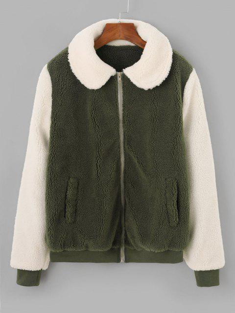 Two Tone Bicolor Zipper Pocket Teddy Coat - اخضر فاتح S Mobile