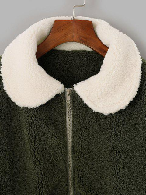 fashion Two Tone Bicolor Zipper Pocket Teddy Coat - LIGHT GREEN M Mobile