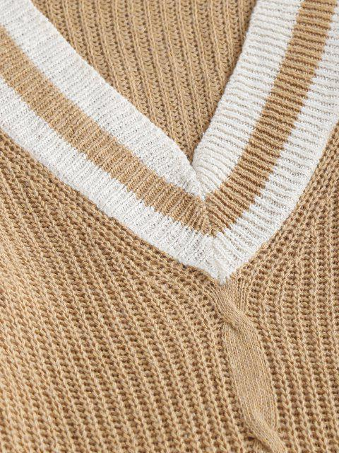 latest Preppy Stripes Side Slit Sweater Dress - LIGHT COFFEE L Mobile