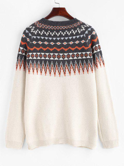 shop Raglan Sleeve Fair Isle Knit Sweater - WHITE M Mobile