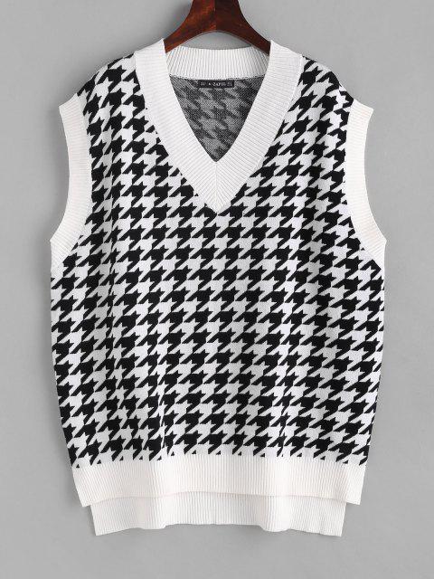 Hahnentritt Gymnastik Pullover Weste mit Einfache - Weiß M Mobile