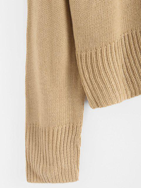 affordable Colorblock Chevron Detail Sweater - LIGHT COFFEE S Mobile