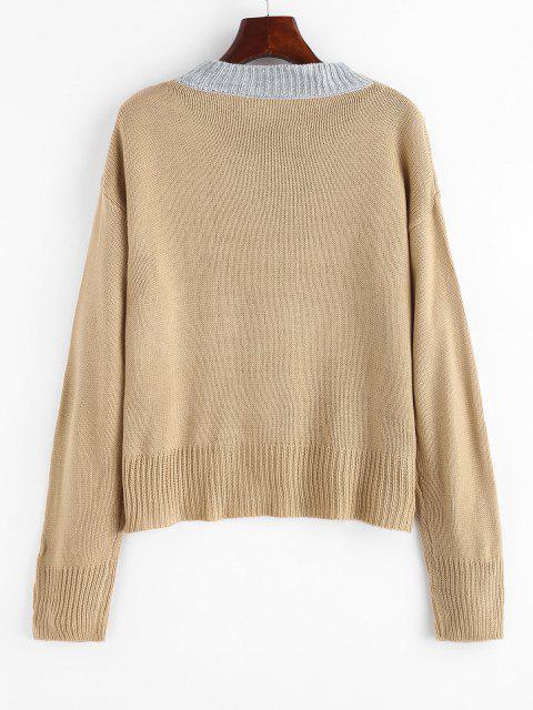 配色シェブロンの詳細セーター - ライトコーヒー M Mobile