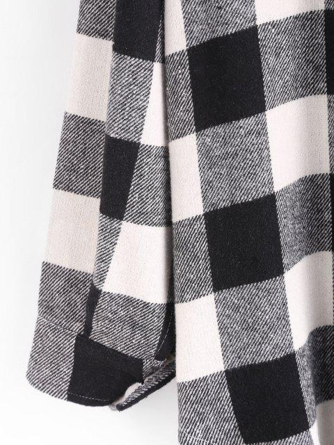 hot Boyish Checked Wool Blend Coat - BLACK M Mobile