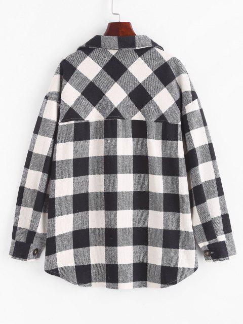 new Boyish Checked Wool Blend Coat - BLACK S Mobile