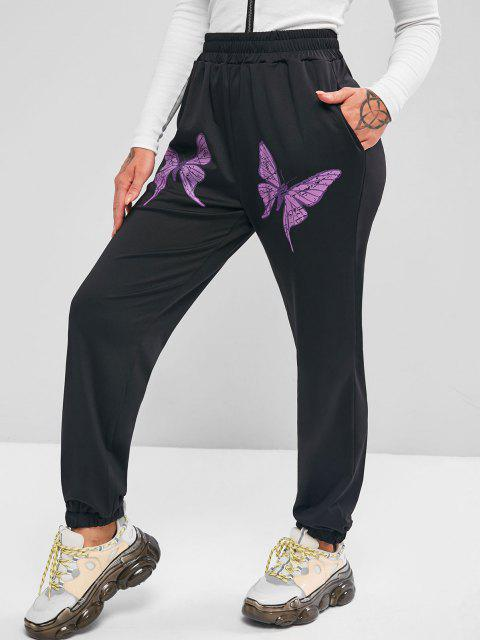 latest Pockets Butterfly High Waisted Jogger Sweatpants - BLACK S Mobile