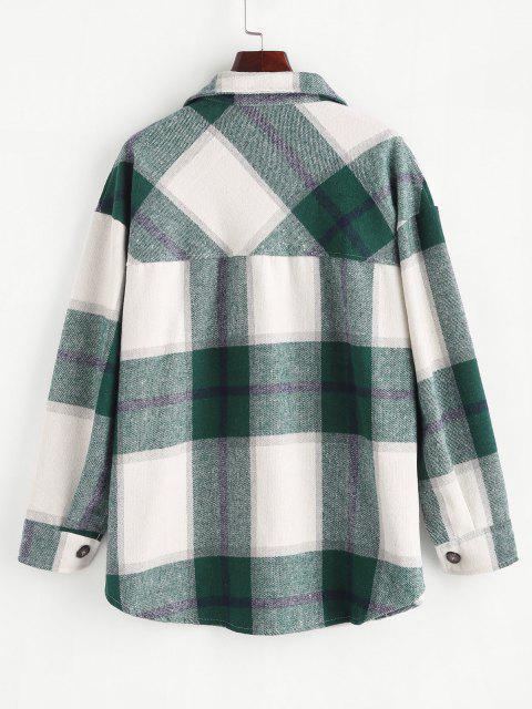 shops Boyish Checked Wool Blend Coat - GREEN M Mobile