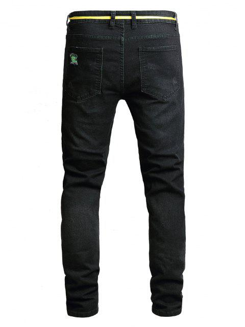 new Distressed Destroy Wash Long Denim Pants - BLACK 36 Mobile