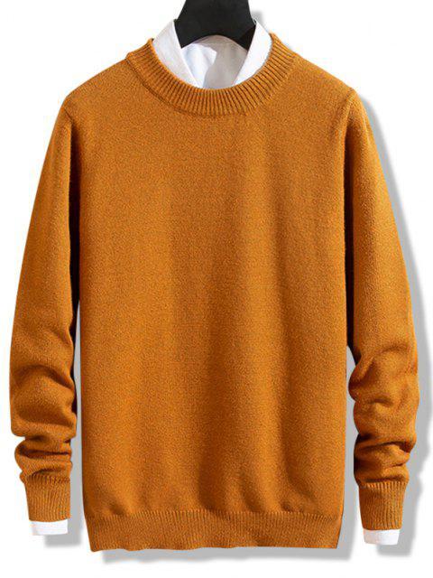 lady Crew Neck Solid Pullover Knit Sweater - DARK ORANGE S Mobile