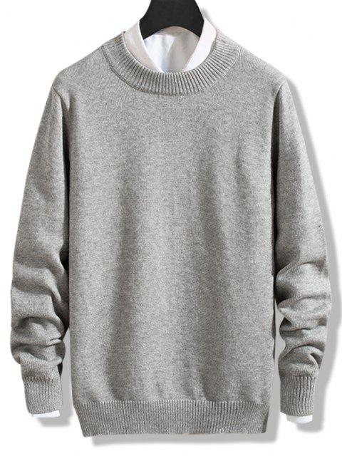 unique Crew Neck Solid Pullover Knit Sweater - GRAY CLOUD S Mobile
