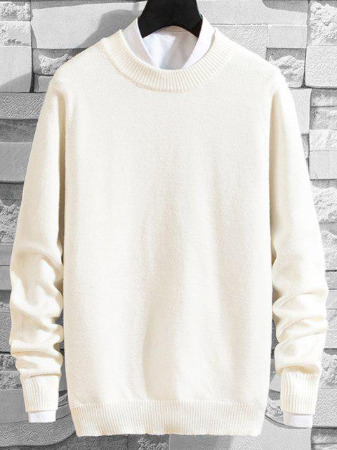 fashion Crew Neck Solid Pullover Knit Sweater - WHITE XS Mobile