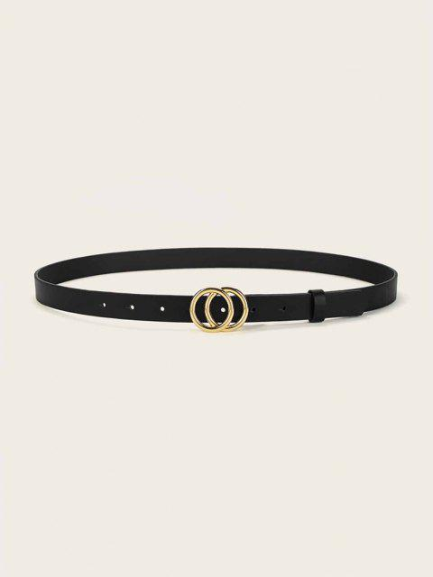 affordable Double Circle Buckle Belt - BLACK  Mobile