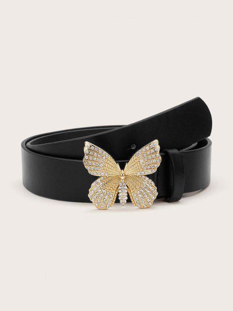 Cinto em couro sintético com fivela de borboleta - Preto  Mobile