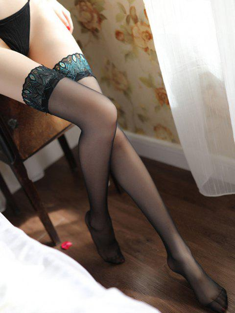 ladies Peacock Feather Pattern Lace Embroidery Sexy Stockings - MULTI-A  Mobile