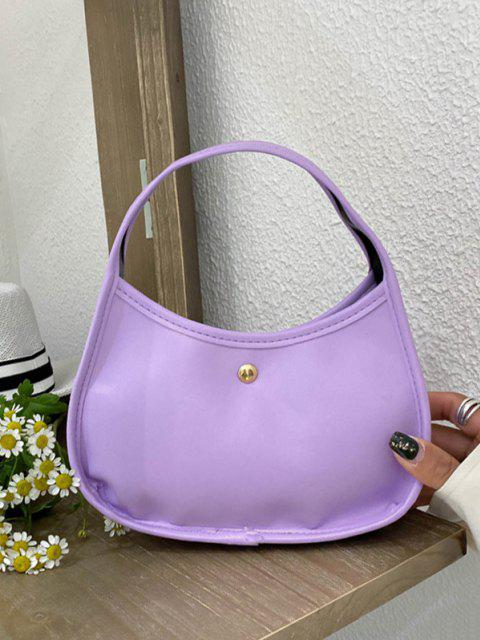 hot Plain Leather Underarm Shoulder Bag - MAUVE  Mobile