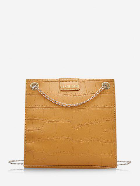 chic Animal Embossed Adjustable Chain Shoulder Bag - SUN YELLOW  Mobile