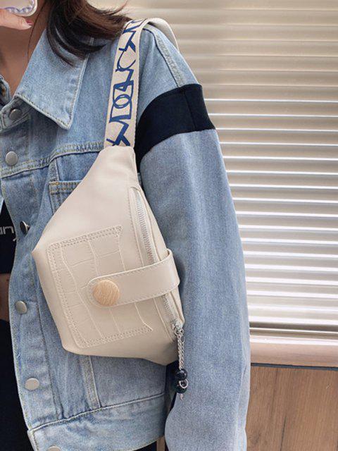 women's Beads Letter Pattern Strap Waist Bag - BEIGE  Mobile