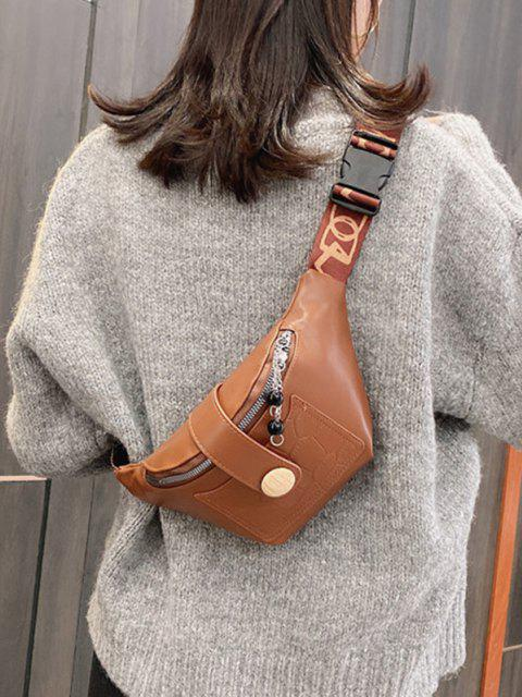 lady Beads Letter Pattern Strap Waist Bag - BROWN  Mobile