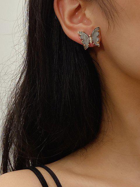 online Butterfly Zircon Copper Stud Earrings - BLACK  Mobile