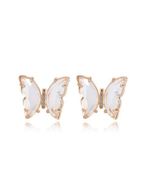 new Butterfly Zircon Copper Stud Earrings - WHITE  Mobile