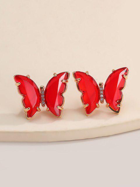 shop Butterfly Zircon Copper Stud Earrings - RED  Mobile