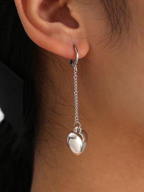 shops Brief Heart Chain Dangle Earrings - SILVER  Mobile
