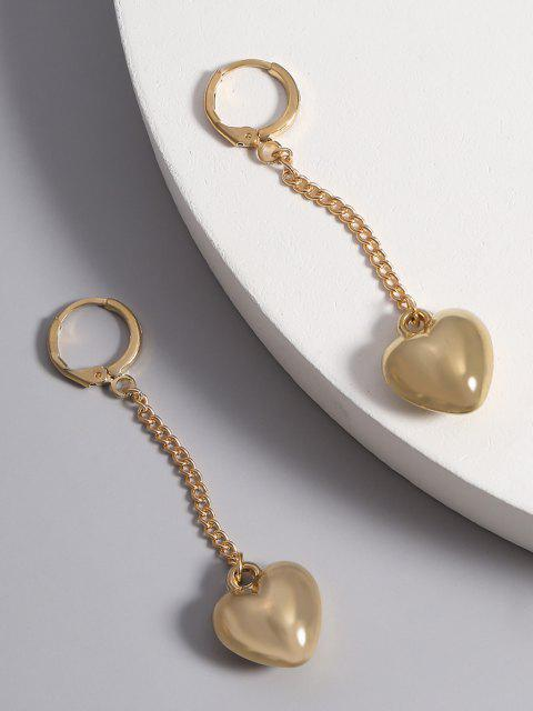 latest Brief Heart Chain Dangle Earrings - GOLDEN  Mobile