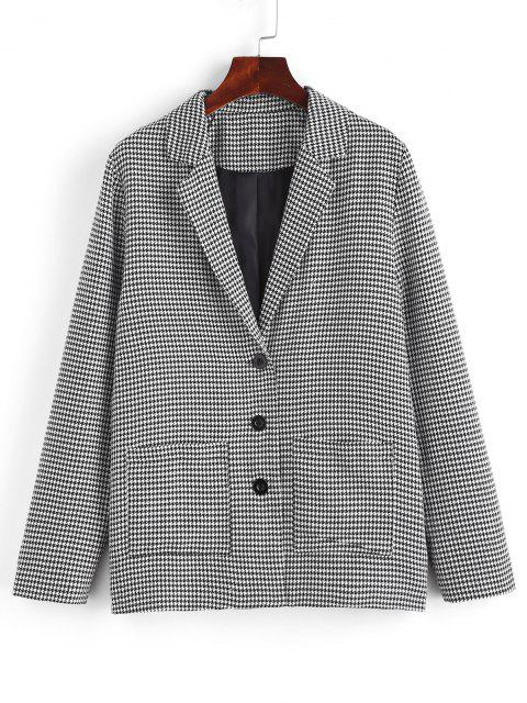 fashion ZAFUL Houndstooth Lapel Dual Patch Pocket Blazer - BLACK M Mobile
