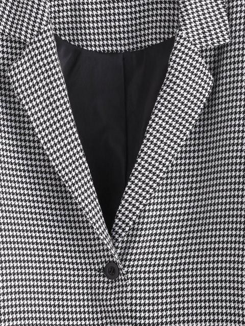 women ZAFUL Houndstooth Lapel Dual Patch Pocket Blazer - BLACK XL Mobile