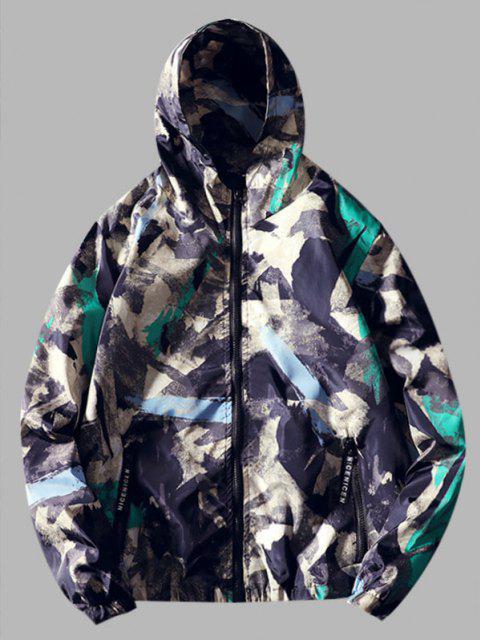 fancy Paint Print Hooded Windbreaker Jacket - MEDIUM TURQUOISE L Mobile