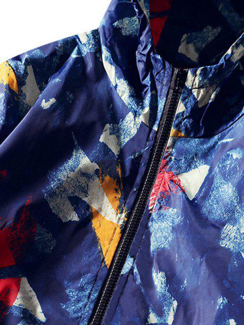 Veste à Capuche Coupe Vent Peinture Imprimée - Bleu Myrtille XS Mobile