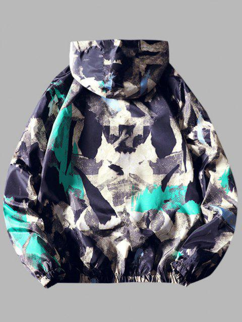 outfits Paint Print Hooded Windbreaker Jacket - MEDIUM TURQUOISE XS Mobile
