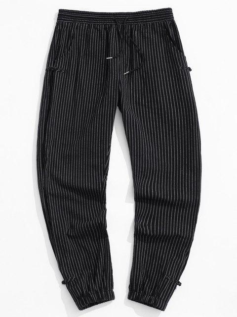 chic ZAFUL Striped Pattern Frog Button Pants - BLACK M Mobile