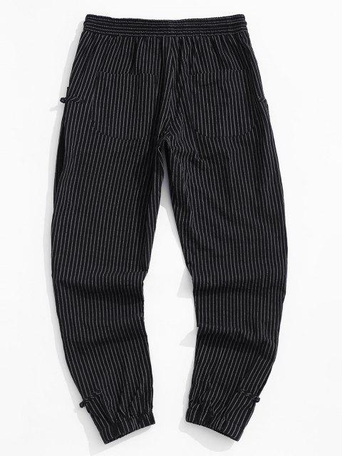 sale ZAFUL Striped Pattern Frog Button Pants - BLACK S Mobile