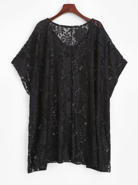 latest Lace Sheer Oversized Tunic Cover Up Dress - BLACK ONE SIZE Mobile